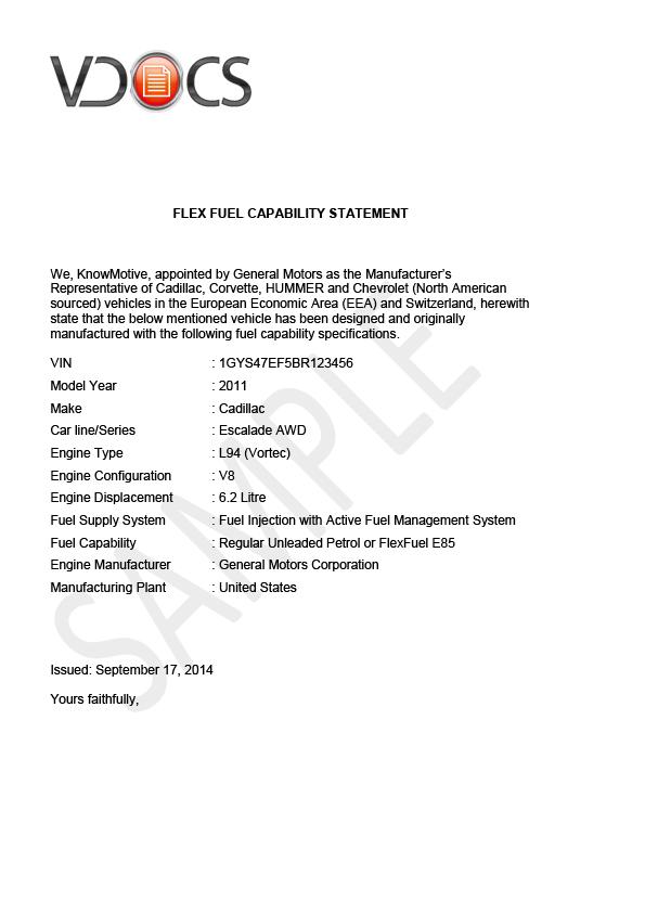 Flex Fuel Capability Statement - VDOCS - Vehicle