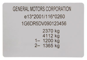 Manufacturer's Label of Certificate of Conformity (COC) vehicle