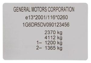 Étiquette du Fabricant d'un Certificat de Conformité (COC) véhicule