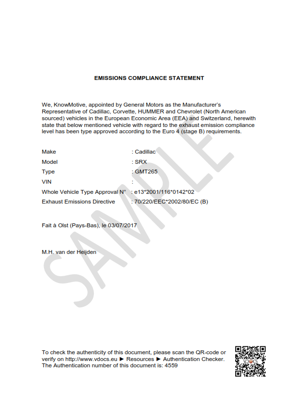 emissions compliance statement - vdocs